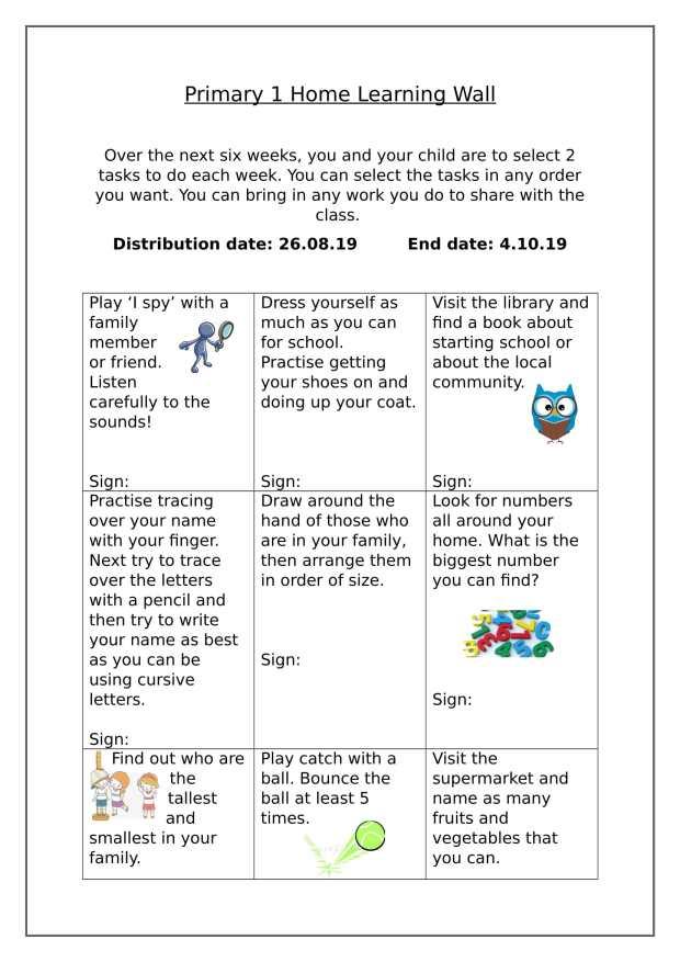 Homework Aug - Sep Primary 1-1