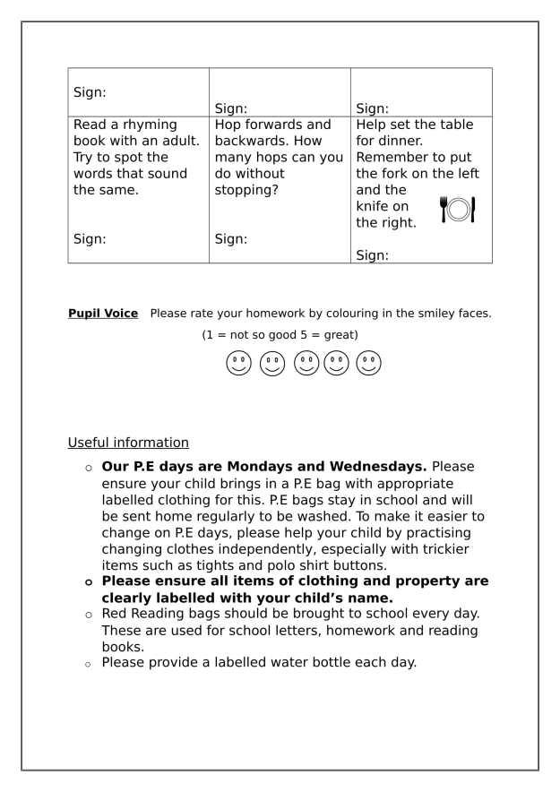 Homework Aug - Sep Primary 1-2
