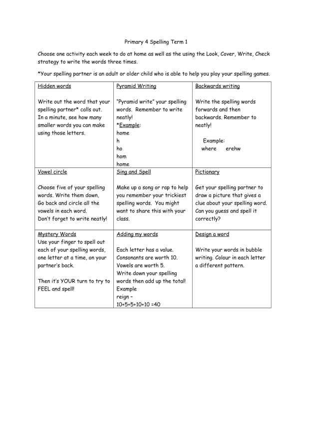 Primary 4 Spelling-1