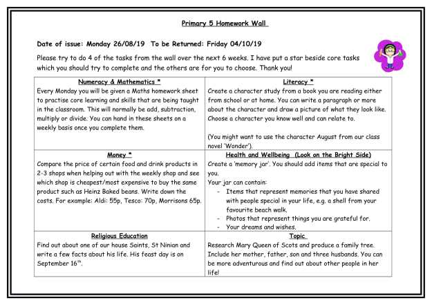 Primary 5 Homework Wall August-1