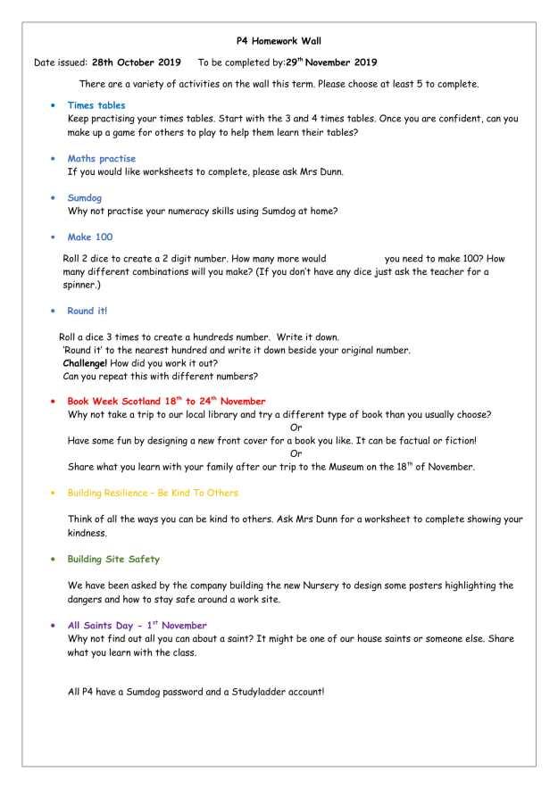 P4 Homework Wall Oct to Nov 2019-1